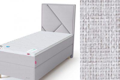 Geometry galvūgalis su baldiniu šviesiai pilkos spalvos audiniu Sleepwell RED serijos lovoms
