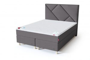 Sleepwell RED Continental dvigulė lova / RED Geometry galvūgalis pilka spalva / TOP HR Foam antčiužinis