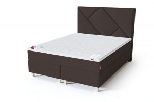 Sleepwell RED Continental dvigulė lova / RED Geometry galvūgalis ruda spalva / TOP HR Foam antčiužinis