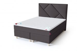 Sleepwell RED Continental dvigulė lova / RED Geometry galvūgalis tamsiai pilka spalva / TOP HR Foam antčiužinis