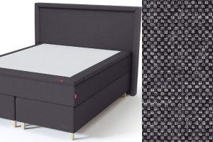 Sleepwell BLACK Continental tipo dvigulė miegamojo lova su čiužiniu / BLACK Lined galvūgalis / TOP Latex Lux antčiužinis, tamsiai pilka spalva-audinys